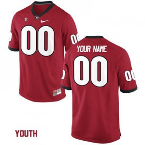 Georgia Bulldogs Custom College Jersey - Red - Youth
