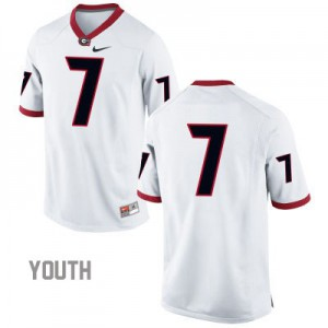 Georgia Bulldogs #7 (No Name) College Jersey - White - Youth