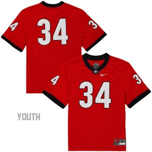 Georgia Bulldogs Herschel Walker #34 (No Name) College Jersey - Red - Youth