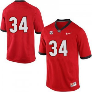 Georgia Bulldogs Herschel Walker #34 (No Name) College Jersey - Red