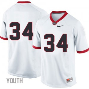 Georgia Bulldogs Herschel Walker #34 (No Name) College Jersey - White - Youth