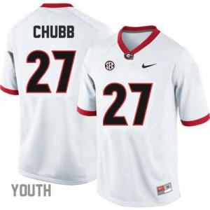 Georgia Bulldogs Nick Chubb #27 College Jersey - White - Youth
