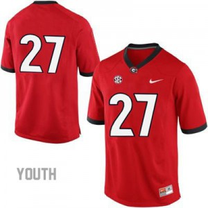 Georgia Bulldogs Nick Chubb #27 (No Name) College Jersey - Red - Youth