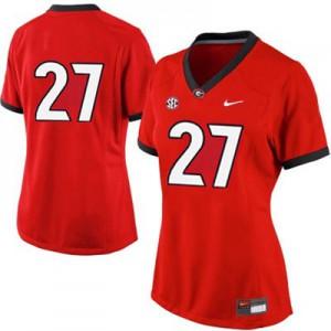 Georgia Bulldogs Nick Chubb #27 (No Name) Women's Jersey - Red