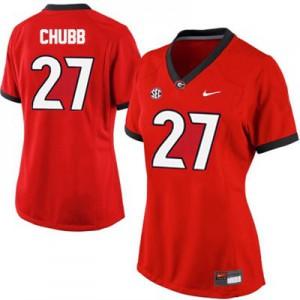 Georgia Bulldogs Nick Chubb #27 Women's Jersey - Red